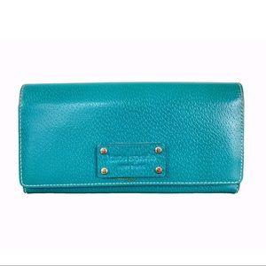 Kate Spade teal blue leather wallet